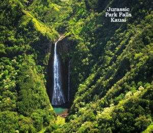 Famous waterfall on Kauai island taken from the air